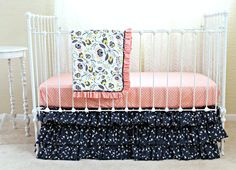 Hey, I found this really awesome Etsy listing at https://www.etsy.com/listing/215821195/blooms-in-flight-bumperless-baby-bedding