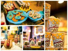 Comidinhas e décor da festa Parque de Diversões
