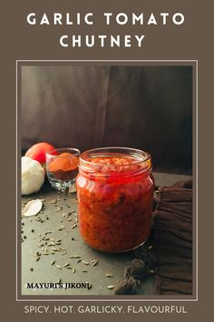 Garlic and Tomato Chutney, is a simple, spicy, packed with flavors, versatile homemade chutney. It can be enjoyed with any Indian Snack or Farsan as we call it in Gujarati. Or have it with your stuffed parathas, with millet flour flatbread, or as a base for sandwiches. #chutney #garlic #tomato #redchillipowder #homemadechutney #chatni #condiment Best Vegetarian Recipes, Vegan Breakfast Recipes, Delicious Recipes, Drink Recipes, Real Food Recipes, Millet Flour, Tomato Chutney, Vegetable Puree, Chutney Recipes
