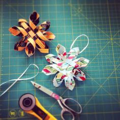 Woven snowflake ornament. Could also be made for gift bow. Peggy Marble pattern.