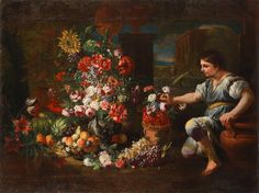Abraham Brueghel (Antwerp Naples) A young man beside an earthenware jar of wild strawberries alongside a silver-gilt urn filled with flowers Wild Strawberries, Bond Street, Mural Painting, Old Master, Antwerp, Young Man, Earthenware, Naples, 17th Century