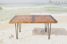 This is a great industrial coffee table that will go with just about any interior design. It is very sturdy and durable and will last for many, many generations. The metal bands are inlaid so they are flush with the table top. This table is offered in many colors and many lengths. Table pictured is special walnut  Height 18 Depth 22 Length 24, 36, 48  All hardware included Easy assembly  ReclaimedWoodUSA is a family owned art/wood working/metal fabrication studio. We maintain a wide…