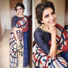 Samantha Prabhu attended an event in Salem recently wearing a beautiful saree look. She paired her checkered saree by Resha by Medhavini with a blue . Saree Blouse Patterns, Saree Blouse Designs, Dress Designs, Dress Patterns, Indian Attire, Indian Wear, Indian Dresses, Indian Outfits, Indian Clothes
