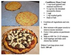 cauliflour pizza crust...mmm this will be a good dinner for me & cor this week! Just add some chicken and tons of veggies on top! Mmm