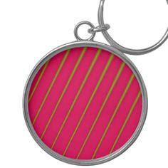 Green Lines on Crimson Pattern Keychain