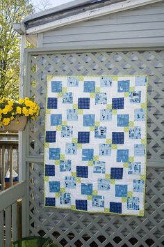 Blue Peeps by Kristy @107 Quilts, via Flickr Use layout pattern for raw edges