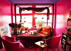 Love the idea of creating an India-themed sanctuary for bedroom. Love the combination of pink, orange, and gold.