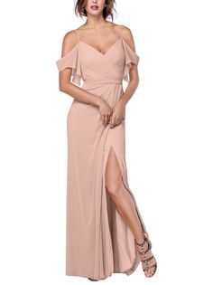 DescriptionWatters AldridgeFull length bridesmaid dressSweetheart neckline with spaghetti strap and off the shoulder sleevesMock wrap skirt drapes from the waist with front side slitCrinkle Chiffon Printed Bridesmaid Dresses, Off Shoulder Bridesmaid Dress, Blush Bridesmaid Dresses Long, Champaign Wedding Dress, Straps Prom Dresses, Bride Dresses, Wedding Dresses, Sheath Wedding Gown, Handmade Dresses