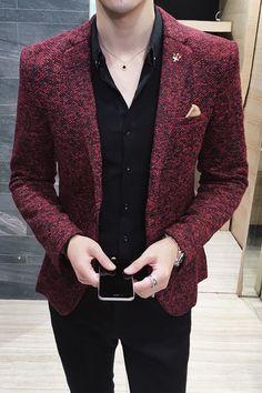 Casual Blazer Mens Clothing New Autumn Winter British Vintage Prom Blazers Men – omnia cloth Blazer Outfits Men, Mens Fashion Blazer, Mens Fashion Wear, Stylish Mens Outfits, Casual Blazer, Suit Fashion, Mens Blazer Styles, Men Blazer, Terno Casual