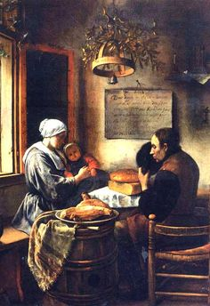 1600s Kitchen | Prayer Before a Meal, Holland, 1600s. This picture was painted in 1660 ...