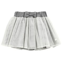 Lili Gaufrette - Light grey tulle and percale skirt - 35769