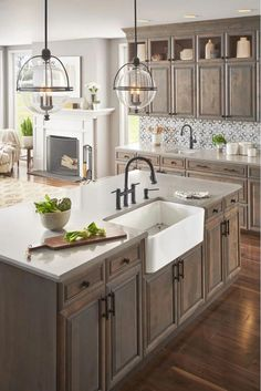 If you are looking for Rustic Farmhouse Kitchen Design Ideas, You come to the right place. Below are the Rustic Farmhouse Kitchen Design Ideas. Farmhouse Sink Kitchen, Diy Kitchen Cabinets, Modern Farmhouse Kitchens, Home Decor Kitchen, Home Kitchens, Kitchen Countertops, Kitchen Modern, Small Kitchens, Minimal Kitchen