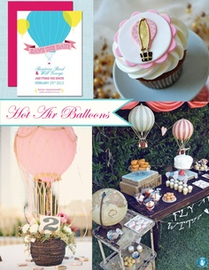 hot air balloon party inspiration board