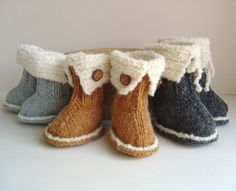 KNITTING PATTERN Baby Booties Snuggs Tutorial quick and easy knitted Snuggly Booties pattern in 3 sizes PDF instant download