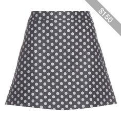 Victoria Beckham Denim Polka-Dot Denim Skirt