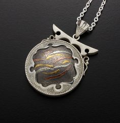3 metal Keum Boo on Kuroshibuichi pendant by KAZNESQ on Etsy, $395.00