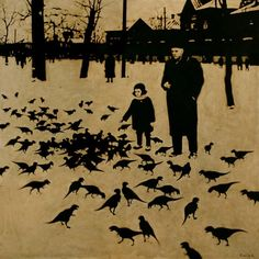 Rinat Voligamsi is a Russian painter who retrieves vintage images of the Russian countryside and of military life and alters them in a surrealist fashion. The artist's intervention provides a humorous view on the depicted subjects while introducing a mysterious and somehow dark atmosphere...