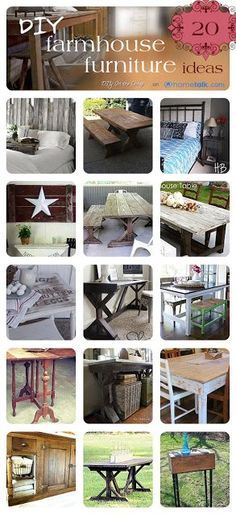 DIY:: 20 +  Farmhouse Budget Furniture Projects ! These Are Amazing !! Tutorials for Each !