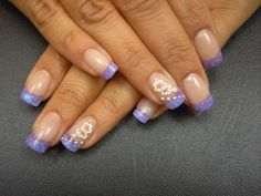 Lilac French with flowers :: one1lady.com :: #nail #nails #nailart #manicure
