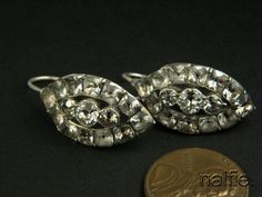 ANTIQUE GEORGIAN PERIOD SILVER FOILED PASTE CLUSTER EARRINGS c1780