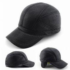 Leather hat genuine winter leather hat baseball cap adjustable for men black hats