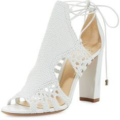 Spring Fashion Collections in BG Radar at Bergdorf Goodman White Block Heel Sandals, Ankle Wrap Sandals, Block Heel Shoes, White Sandals, Open Toe Sandals, Shoes Sandals, Heeled Sandals, Strap Sandals, Ankle Strap