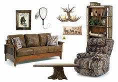 Perfect for a man cave or rustic cabin retreat. Featuring the Plusher Camo Recliner, the most comfortable chair in the industry, and the Westney Stationary Sofa from Best Home Furnishings.