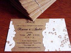 Convite de Casamento Kraft e Renda