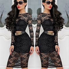 Scoop Crop Top Knee-length Skirt Sexy Lace Dress Set