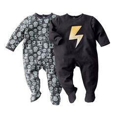 Lote de 2 pijamas com pés, em moletão R baby