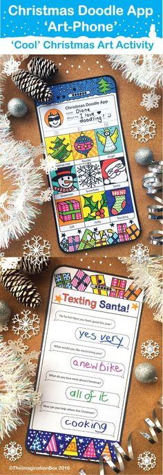 Have fun this Christmas and engage kids creatively with this Instagram style, 'tech' mobile phone/tablet Christmas Doodle App 'Art Phone', drawing and writing activity. Cut out and make your own festive doodle' art-phone', and then to complete the 'Texting Santa' questions and to write a 'Dear Santa' letter.