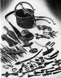 Findings from a Viking cremation grave at Sollerön, Sweden. c. 10th century AD