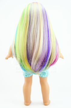 """Starry Sprinkles"" Elegance Doll Wig for American Girl Dolls: Beautifully Custom Exclusive www.beautifullycustom.com (Pastel Rainbow Color Highlights Blonde Hair)"