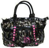 TWEED Black & White Floral w/Bow Satchel Bowler Hobo Handbag Purse Weave Double Handles