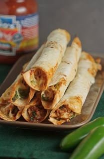 Skinni Mini Me : Healthy Taquitos! Chicken and Spinach....Baked not fried.