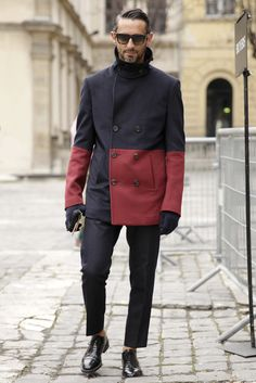 Minimal styling and sharp tailoring make the bold colour-blocking in this peacoat ensemble at Paris Fashion Week look smart and sophisticated.