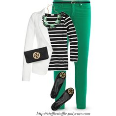 White blazer, Black Stripes & Green by steffiestaffie on Polyvore featuring J.Crew, Plein Sud, AG Adriano Goldschmied, Tory Burch, Blu Bijoux and H&M