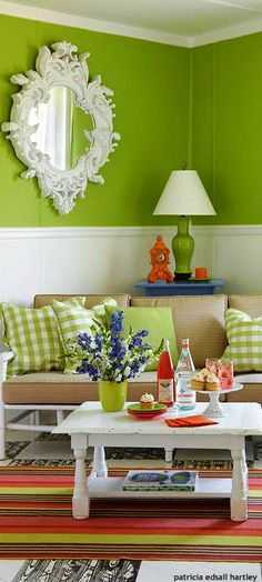 . Green Home Decor, Green Rooms, Better Homes And Gardens, Spring Colors, Colorful Decor, House Colors, Sweet Home, Home And Garden, Living Room