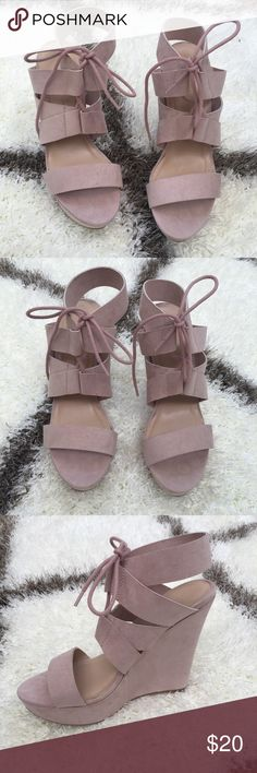 Pink Suede Wedges Brand new never been worn super cute Wedges! Smoke free home. Fashion Nova Shoes Wedges