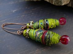 Cherries on Acid - wearable art textile bead cherry quartz bronze and lime boho earrings. by PreciousViolet on Etsy