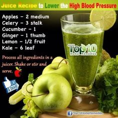 Another green juice recipe to help your blood pressure. And just to keep you healthy and hydrated and happy :) High Blood Pressure Home Remedies - The All Natural Way.Blood Pressure Home Remedies - How to Cure Hypertension Naturally Green Juice Recipes, Healthy Juice Recipes, Healthy Juices, Healthy Smoothies, Healthy Drinks, Healthy Bp, Smoothie Recipes, Diabetic Drinks, Natural Blood Pressure