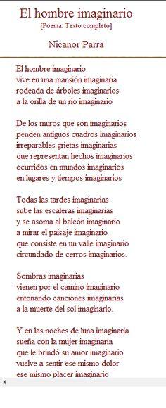 """""""El hombre imaginario"""" poema de Nicanor Parra"""