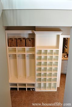 love this mudroom and shoe caddy Isabella & Max Rooms: Street of Dreams Portland Style - House 4 Mudroom Cubbies, Basement Storage, Laundry Storage, Storage Room, Garage Storage, Storage Ideas, Laundry Room, Organizing Your Home, Home Organization