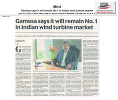 Gamesa Renewable Pvt. Ltd. to remain No 1 in the Indian Wind Turbine Market - says Mr Ramesh Kymal, CEO #Wind4All #RenewableEnergy #WindPowerForever #HarvestAir #DestinationWind