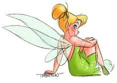 Tinkerbell by Disney artist Steve Thompson Disney Animation, Disney Pixar, Disney And Dreamworks, Disney Characters, Disney Princesses, Tinkerbell And Friends, Peter Pan And Tinkerbell, Peter Pan Disney, Disney Fairies