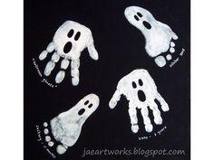 Bricolage enfants : 17 dessins D'Halloween avec les empreintes de mains et de pieds