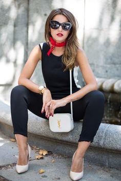 Lovely Pepa, black tank top, black skinny jeans, red bandana