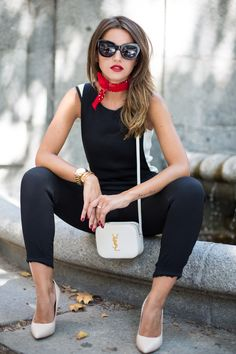 Lovely Pepa, black tank top, black skinny jeans, red bandana