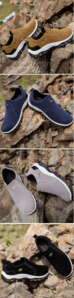 5ab80bceddf Men Hiking Suede Breathable Slip Resistant Slip On Outdoor Sneakers Men  Hiking