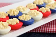 Red White and Blue Deviled Eggs from Created by Diane